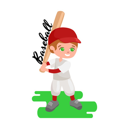 childrens playing: Happy boy playing baseball, kids sport, childrens activity vector illustration on white