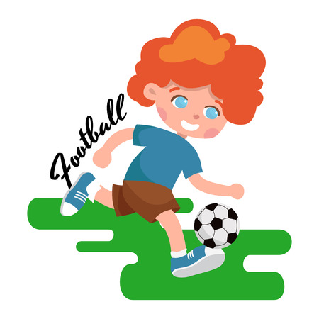sportswear: Full length portrait of a child in sportswear joggling ball isolated on white background vector illustration Illustration