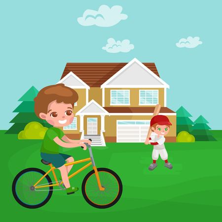 Boy cycling, racing kids sport, physical activity vector illustration isolated