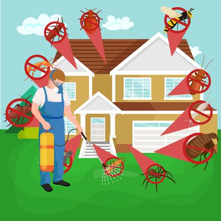 Ongediertebestrijding concept met insecten verdelger silhouet plat vector illustratie set