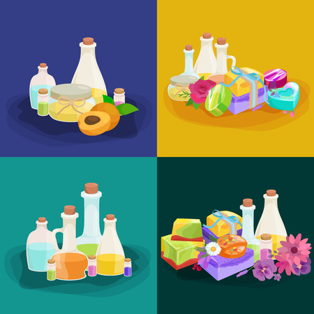 essential: Bottles with organic essential aroma oil and soap bar set vector illustration Illustration