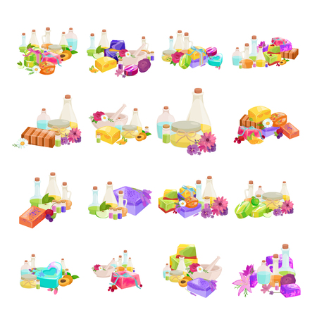 aroma: Bottles with organic essential aroma oil and soap bar set vector illustration Illustration