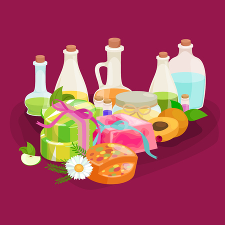 homemade: Homemade bars soaps, flowers and essential oil. vector illustrations icon set Illustration