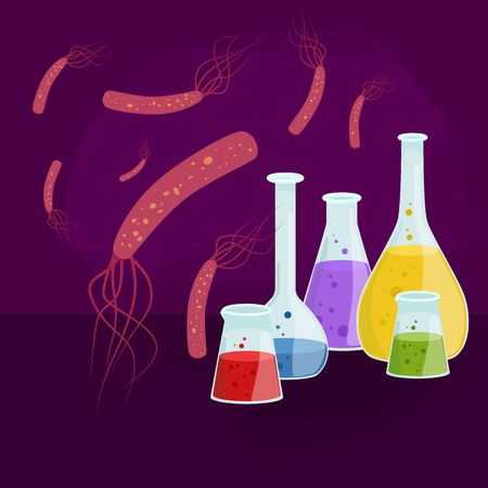 epidemic: Viruses in infected organism , viral disease epidemic , Vaccine research vector illustration