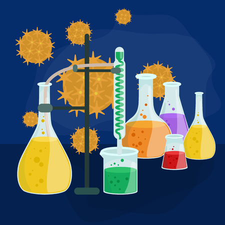 bacteria cell: Viruses in infected organism , viral disease epidemic , Vaccine research vector illustration