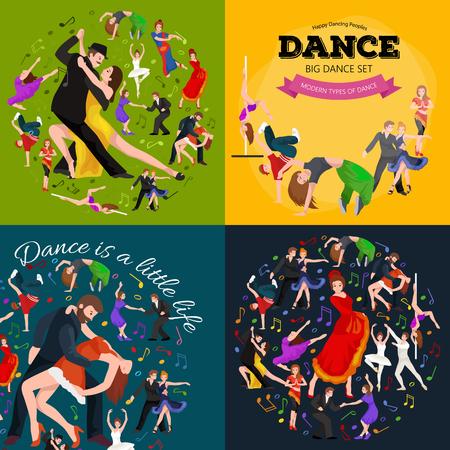 baile latino: La gente, bailarín Bachata, Hip Hop, Salsa, indio, del ballet, de la tira, rock and roll, rotura, Flamenco, Tango, contemporáneo, danza del vientre baile del estilo del pictograma del icono del diseño de concepto establecido Conjunto de la ilustración del baile Vectores