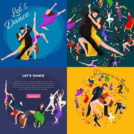 bailarines de salsa: La gente, bailarín Bachata, Hip Hop, Salsa, indio, del ballet, de la tira, rock and roll, rotura, Flamenco, Tango, contemporáneo, danza del vientre baile del estilo del pictograma del icono del diseño de concepto establecido Conjunto de la ilustración del baile Vectores