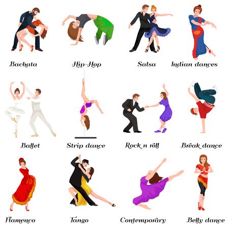 Tanzen-Leute, Tänzer Bachata, Hip-Hop, Salsa, Indisch, Ballett, Strip, Roch and Roll, Pause, Flamenco, Tango, zeitgenössisch, Bauchtanz-Piktogramm Symbol Tanzen Stil Design-Konzept gesetzt Vektor-Illustration Set