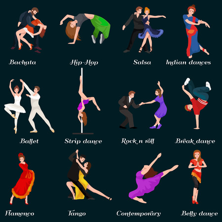 tango dance: Dancing People, Dancer Bachata, Hiphop, Salsa, Indian, Ballet, Strip, Roch and Roll, Break, Flamenco, Tango, Contemporary, Belly Dance Pictogram Icon Dancing style of design concept set vector illustration set