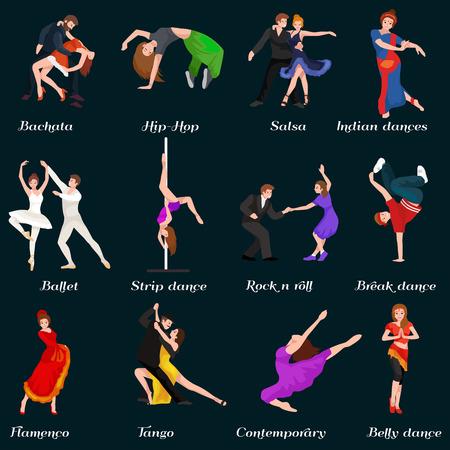 Tanzen-Leute, Tänzer Bachata, Hip-Hop, Salsa, Indisch, Ballett, Strip, Roch and Roll, Pause, Flamenco, Tango, zeitgenössisch, Bauchtanz-Piktogramm Symbol Tanzen Stil Design-Konzept gesetzt Vektor-Illustration Set Vektorgrafik