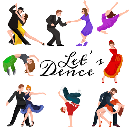 人々、バチャータ ダンサー、ヒップホップ、サルサ、インド、バレエ、ストリップ、ロホとロールを踊り、休憩、フラメンコ、タンゴ、現代的なベ  イラスト・ベクター素材