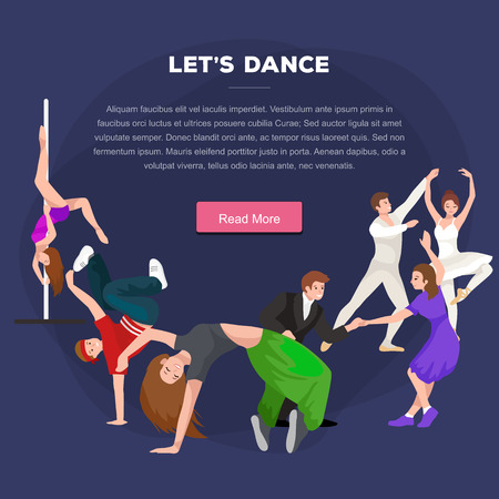 traditional dance: Vector illustration of couple dancing modern dance, Partners dance bachata, Dancing style design concept set, traditional dance flat icon isolated vector illustration, Man and woman ballroom dancing.
