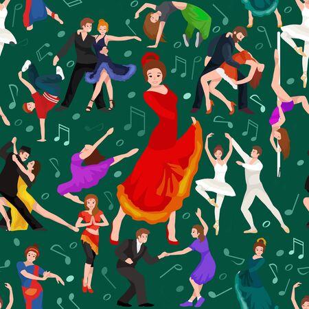 danza contemporanea: Patrón sin fisuras. La gente, bailarín Bachata, Hip Hop, Salsa, indio, del ballet, de la tira, rock and roll, rotura, Flamenco, Tango, contemporáneo, danza del vientre baile del estilo del pictograma del icono del diseño de concepto establecido Conjunto de la ilustración del baile Vectores