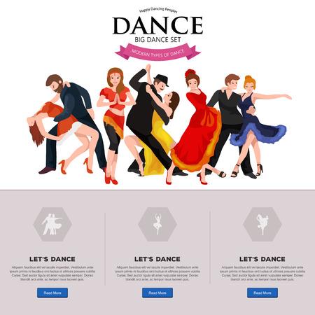 Danse populaire, Danseur Bachata, Hiphop, Salsa, Indien, Ballet, Strip, Rock and Roll, Pause, Flamenco, Tango, Contemporain, Belly Dance Pictogram Icône de style de danse du concept mis illustration vectorielle ensemble