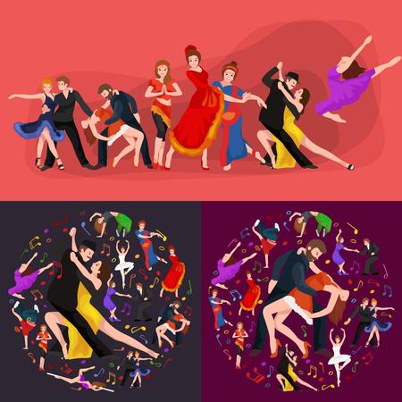 danza contemporanea: La gente, bailarín Bachata, Hip Hop, Salsa, indio, del ballet, de la tira, rock and roll, rotura, Flamenco, Tango, contemporáneo, danza del vientre baile del estilo del pictograma del icono del diseño de concepto establecido Conjunto de la ilustración del baile Vectores