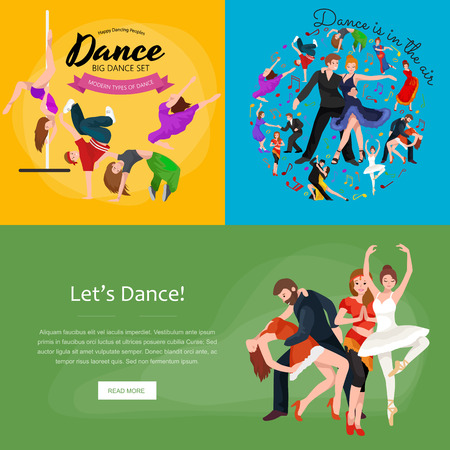 yong: Group of dancing people, yong happy man and woman dance together and in couple, girl sport dancer, happy boy, dance background vector illustration pictogram isolated