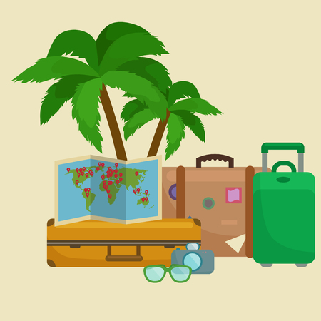 sunglasses recreation: Traveling bag suitcase for trip or vocation, tourism icon baggage for voyage, vector illustration. Summer vocations tourist concept, packaging label sticker on travel bag suitcase isolated