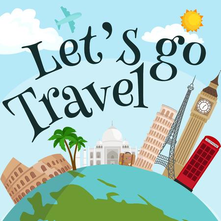 Reis rond de wereld poster. Toerisme vakantie, aarde wereld, reis globaal, vector illustratie. World Travel concept banner, internationale zakelijke achtergrond Stock Illustratie