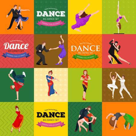 salsa dancer: Dancing People, Dancer Bachata, Hiphop, Salsa, Indian, Ballet, Strip, Roch and Roll, Break, Flamenco, Tango, Contemporary, Belly Dance Pictogram Icon Dancing style of design concept set vector illustration set