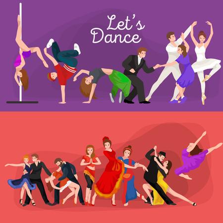 La gente, bailarín Bachata, Hip Hop, Salsa, indio, del ballet, de la tira, rock and roll, rotura, Flamenco, Tango, contemporáneo, danza del vientre baile del estilo del pictograma del icono del diseño de concepto establecido Conjunto de la ilustración del baile Ilustración de vector