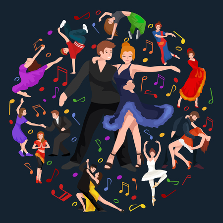 contemporary dance: Dancing People, Dancer Bachata, Hiphop, Salsa, Indian, Ballet, Strip, Rock and Roll, Break, Flamenco, Tango, Contemporary, Belly Dance Pictogram Icon Dancing style of design concept set vector illustration set
