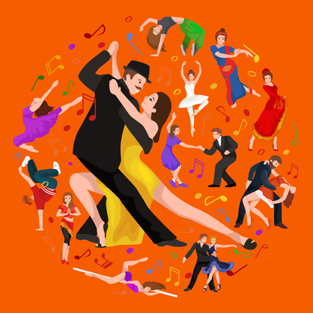 tango: Vector illustration of couple dancing modern dance, Partners dance bachata, Dancing style design concept set, traditional dance flat icon isolated vector illustration, Man and woman ballroom dancing.