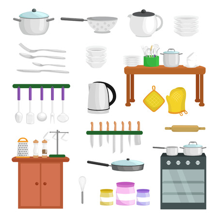 Food and cooking banner set with kitchenware utensils, Kitchen set of tools for cook or cooking meals. Vector illustration of isolated kitchen utensil. Background with utensil, cook equipment, domestic tools for home Ilustração