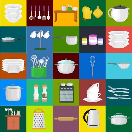 cocina caricatura: Comida y la cocina bandera conjunto con utensilios de cocina, cocina set de herramientas para cocinar o para cocinar comidas. Ilustración del vector de utensilio de cocina aislado. Fondo con el utensilio, equipos de cocina, herramientas domésticas para el hogar