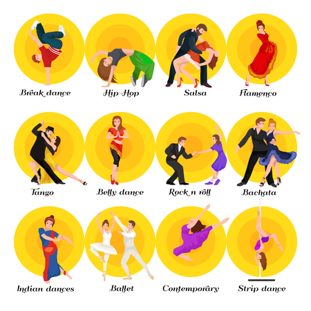 strip dance: Dancing People, Dancer Bachata, Hiphop, Salsa, Indian, Ballet, Strip, Roch and Roll, Break, Flamenco, Tango, Contemporary, Belly Dance Pictogram Icon Dancing style of design concept set vector illustration set