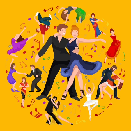 romantic sexy couple: Vector illustration of couple dancing modern dance, Partners dance bachata, Dancing style design concept set, traditional dance flat icon isolated vector illustration, Man and woman ballroom dancing.