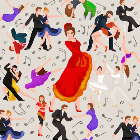 contemporary dance: Seamless pattern. Dancing People, Dancer Bachata, Hiphop, Salsa, Indian, Ballet, Strip, Rock and Roll, Break, Flamenco, Tango, Contemporary, Belly Dance Pictogram Icon Dancing style of design concept set vector illustration set Illustration