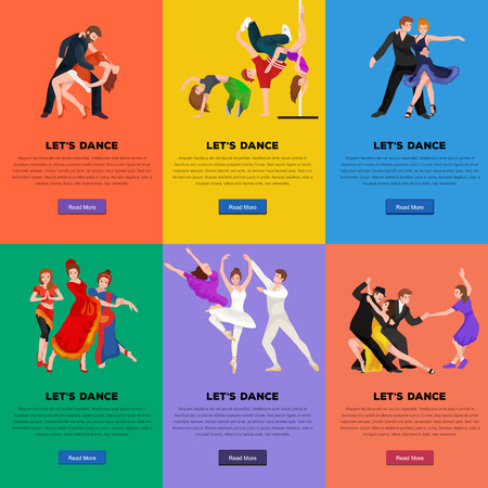 modern dance: Vector illustration of couple dancing modern dance, Partners dance bachata, Dancing style design concept set, traditional dance flat icon isolated vector illustration, Man and woman ballroom dancing.