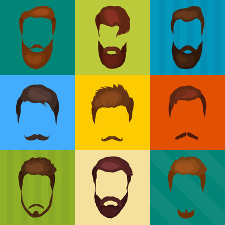 goatee: Mans hair set of beards and mustaches vector. Hipster style fashion beards and hair isolated illustration. Peoples hairstyle icon, collection of beards and mustaches for barbershop.Mans trendy haircut types for barber shop. Isolated collection of mans bea Illustration