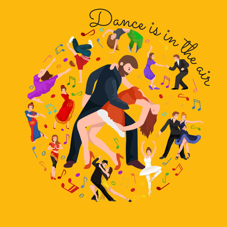 salsa dancer: Couple dancing Kizomba in bright costumes. Vector illustration of partners dance bachata, happy peoples man and woman ballroom dancing poster, Bachata, roomba salsa dancer concept for poster, banner or flyer