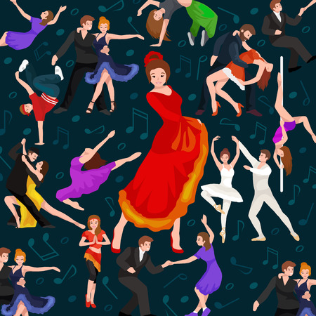belly dance: Seamless pattern. Dancing People, Dancer Bachata, Hiphop, Salsa, Indian, Ballet, Strip, Rock and Roll, Break, Flamenco, Tango, Contemporary, Belly Dance Pictogram Icon Dancing style of design concept set vector illustration set Illustration