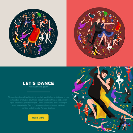 sexy young couple: Vector illustration of couple dancing modern dance, Partners dance bachata, Dancing style design concept set, traditional dance flat icon isolated vector illustration, Man and woman ballroom dancing.