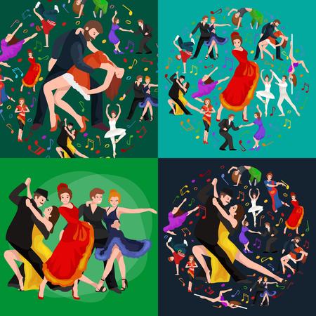 salsa dancer: Dancing People, Dancer Bachata, Hiphop, Salsa, Indian, Ballet, Strip, Rock and Roll, Break, Flamenco, Tango, Contemporary, Belly Dance Pictogram Icon Dancing style of design concept set vector illustration set