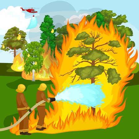 Firefighters in protective clothing and helmet with helicopter extinguish with water from hoses dangerous wildfire.Man fighter rescue helicopter put out the fire in forest landscape damage vector Иллюстрация