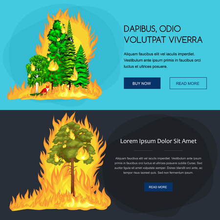 burning bush: Forest Fire, fire in forest landscape damage, nature ecology disaster, hot burning trees, danger forest fire flame with smoke, blaze wood background vector illustration. Wildfire burning tree in red and orange color.