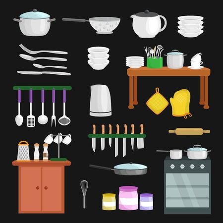 pot holder: Kitchenware icons vector set. Cartoon kitchen utensil collection spoon pot food knife fork cup pan spatula ladle plate dish bowl colander whisk grater. Steel kitchen household cutlery, cooking equipment tools