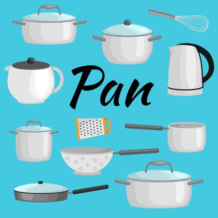 Pannen en potten realistische set met koekenpan pan en kom geïsoleerde vector illustratie Stockfoto - 60113648