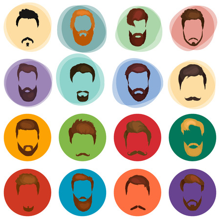 goatee: Peoples hairstyle icon, collection of beards and mustaches for barbershop.Mans trendy haircut types for barber shop. Isolated collection of mans beards design, haircut of head heir and mustaches.Hipster hair and beards, fashion vector illustration set.