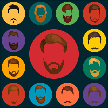 handlebar: Peoples hairstyle icon, collection of beards and mustaches for barbershop.Mans trendy haircut types for barber shop. Isolated collection of mans beards design, haircut of head heir and mustaches.Hipster hair and beards, fashion vector illustration set.
