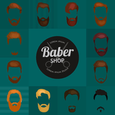 handlebar: Mans hair set of beards and mustaches vector. Hipster style fashion beards and hair isolated illustration. Peoples hairstyle icon, collection of beards and mustaches for barbershop.Mans trendy haircut types for barber shop. Isolated collection of mans bea Illustration
