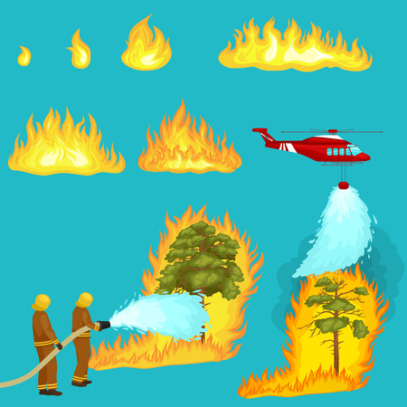 Firefighters in protective clothing and helmet with helicopter extinguish with water from hoses dangerous wildfire.Man fighter rescue helicopter put out the fire in forest landscape damage vector 일러스트