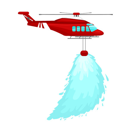 helicopter rescue: red emergency propeller helicopter in the air with water for extinguish danger fire. Rescue aircraft flight water transportation isolated vector illustration
