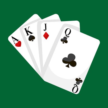 Jugando ilustración vectorial Las tarjetas del póker, ganar el juego icono del casino, el riesgo y el juego de póquer, aislado cubierta de cartas sobre fondo verde Ilustración de vector
