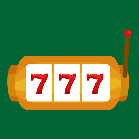 Slot machine with three sevens isolated on green background.Win gambling casino icon, risk and play in slot machine, isolated vector illustration