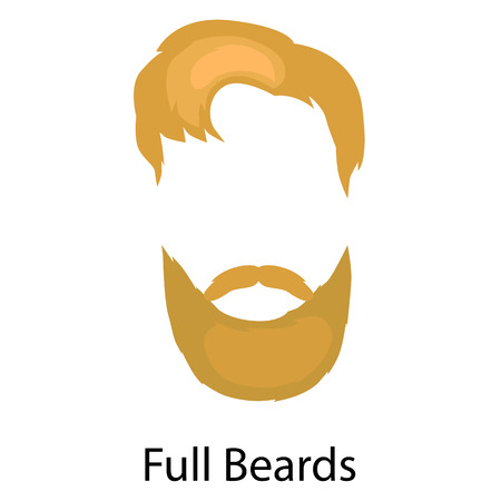 goatee: Set of men cartoon hairstyles with beards and mustache. Collection of fashionable stylish hairstyles and beards. Vector illustration with isolated hipsters hairstyles on a white background. Illustration