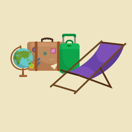 vocation: Traveling bag suitcase for trip or vocation, tourism icon baggage for voyage, vector illustration. Summer vocations tourist concept, packaging label sticker on travel bag suitcase isolated